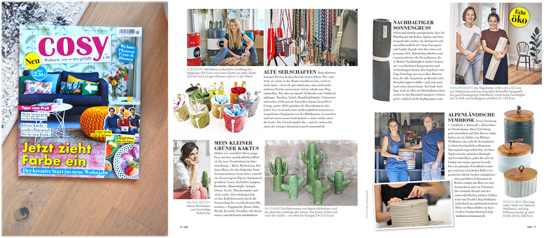 our recycled hejhej-mats got featured in the german cosy magazine among young innovators.