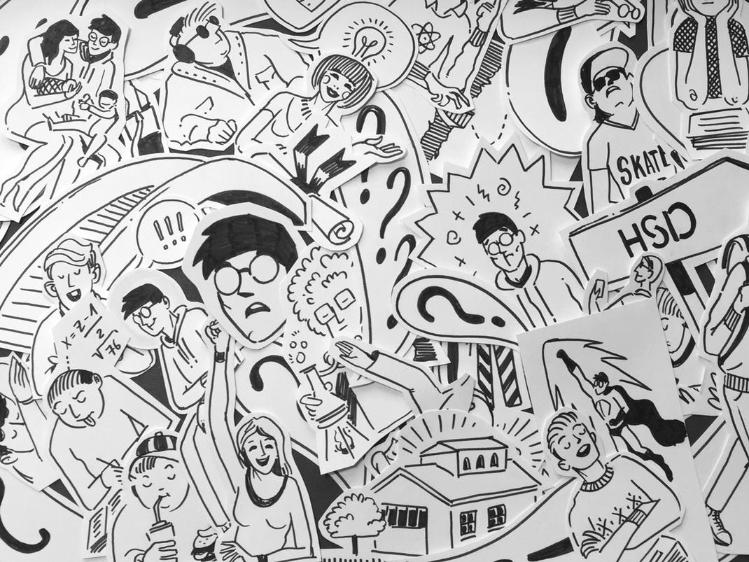Illustrationen schwarz weiß