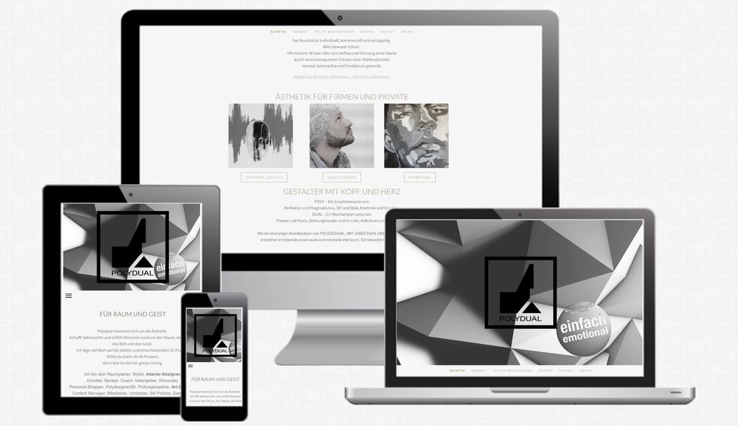 Responsive Design Webseite von Polydual.com und branding3d.ch