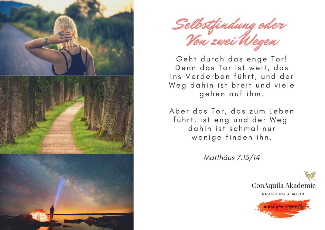 Von zwei Wegen. Inspirationen, ConAquila, Martina M. Schuster. Coaching Akademie, Bildquelle: Canva Pro.