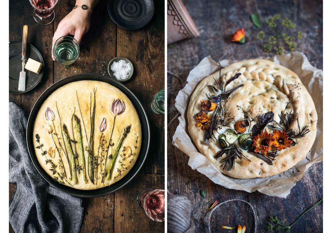 Garden Focaccia Challenge | Bild  links: Lisa Nieschlag | Bild rechts: von uns (Elisabeth Grindmayer)