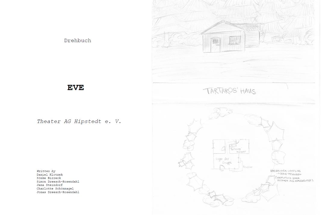 """Die Titelseite unseres Drehbuchs zum Fimprojekt """"EVE"""" und eine Konzeptzeichnung zu einem wichtigen Drehort."""