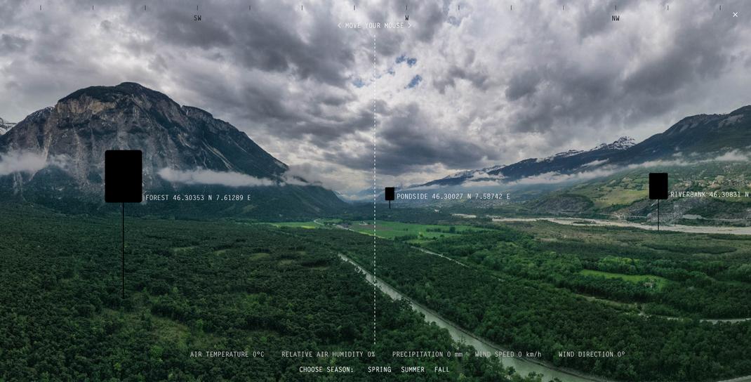 "Screenshot des ""Perimeter Pfynwald"", Teil der digitalen Ausstellung ""Critical Zones"" des Zentrums für Kunst und Medien, https://critical-zones.zkm.de/#!/detail:perimeter-pfynwald-a-soundscape-observatory (erstellt am 14.07.2020)."