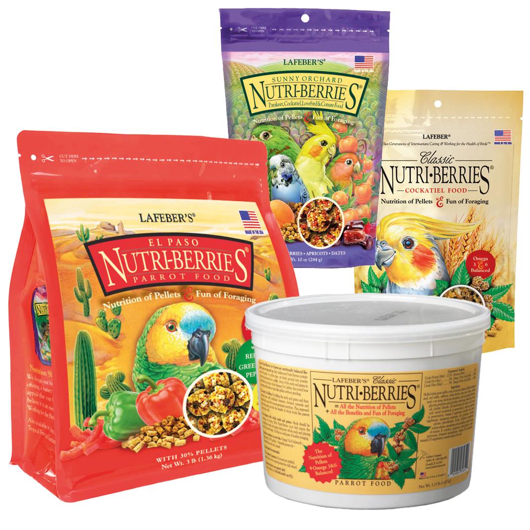 Nutri-Berries von Dr. Lafeber sind ein Futterkonzept, dass aus ganzen Saaten und Pellets besteht. Es versorgt Ihre Vögel mit existentiellen Nährstoffen und die Kugelform beschäftigt Ihren Vogel bei der Futteraufnahme.