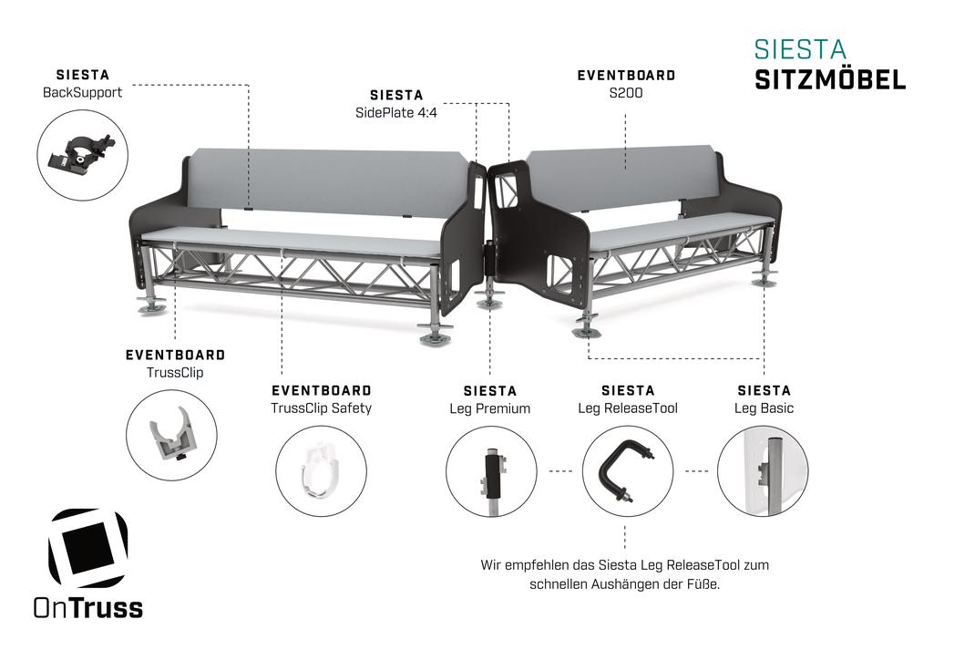 Das OnTruss Siesta Sitzmöbel-System im Überblick | Wir bieten alle Zubehörteile zum Bau von Sitzbänken, Eventmöbel, Couchen, Tische, ...