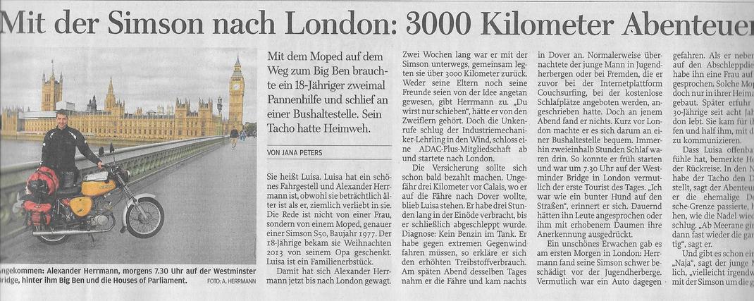 Freie Presse, 15. August 2015