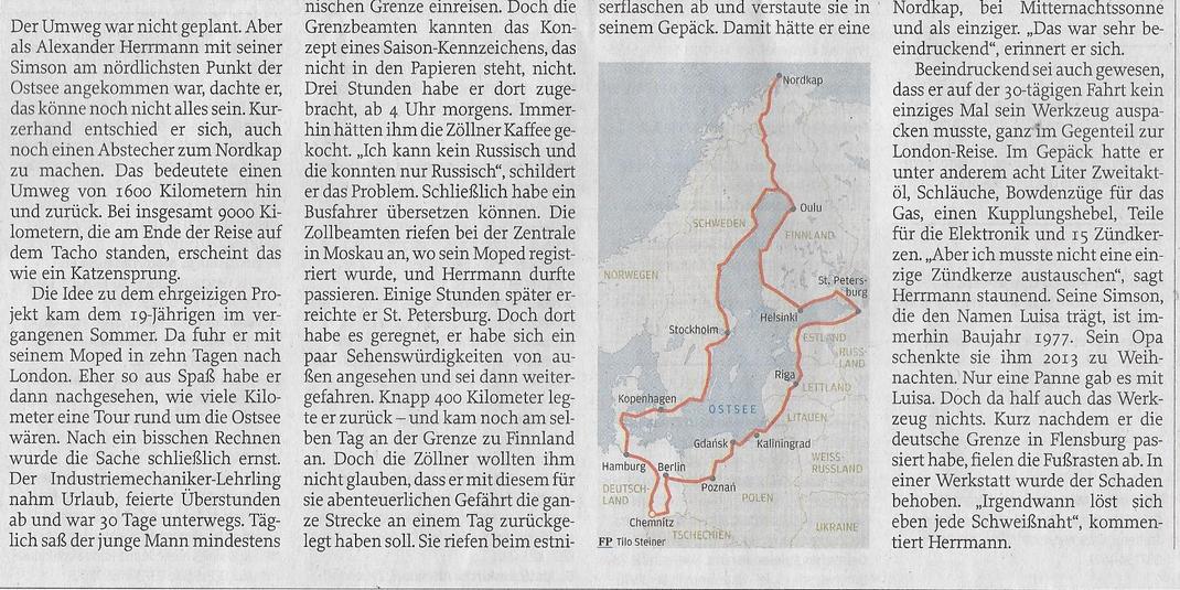 Freie Presse, 31. August 2016