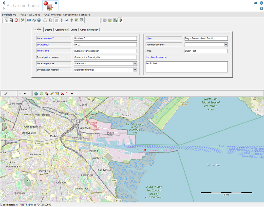 """General data mask of the object type """"Universal Geotechnical Standard"""", with map preview"""