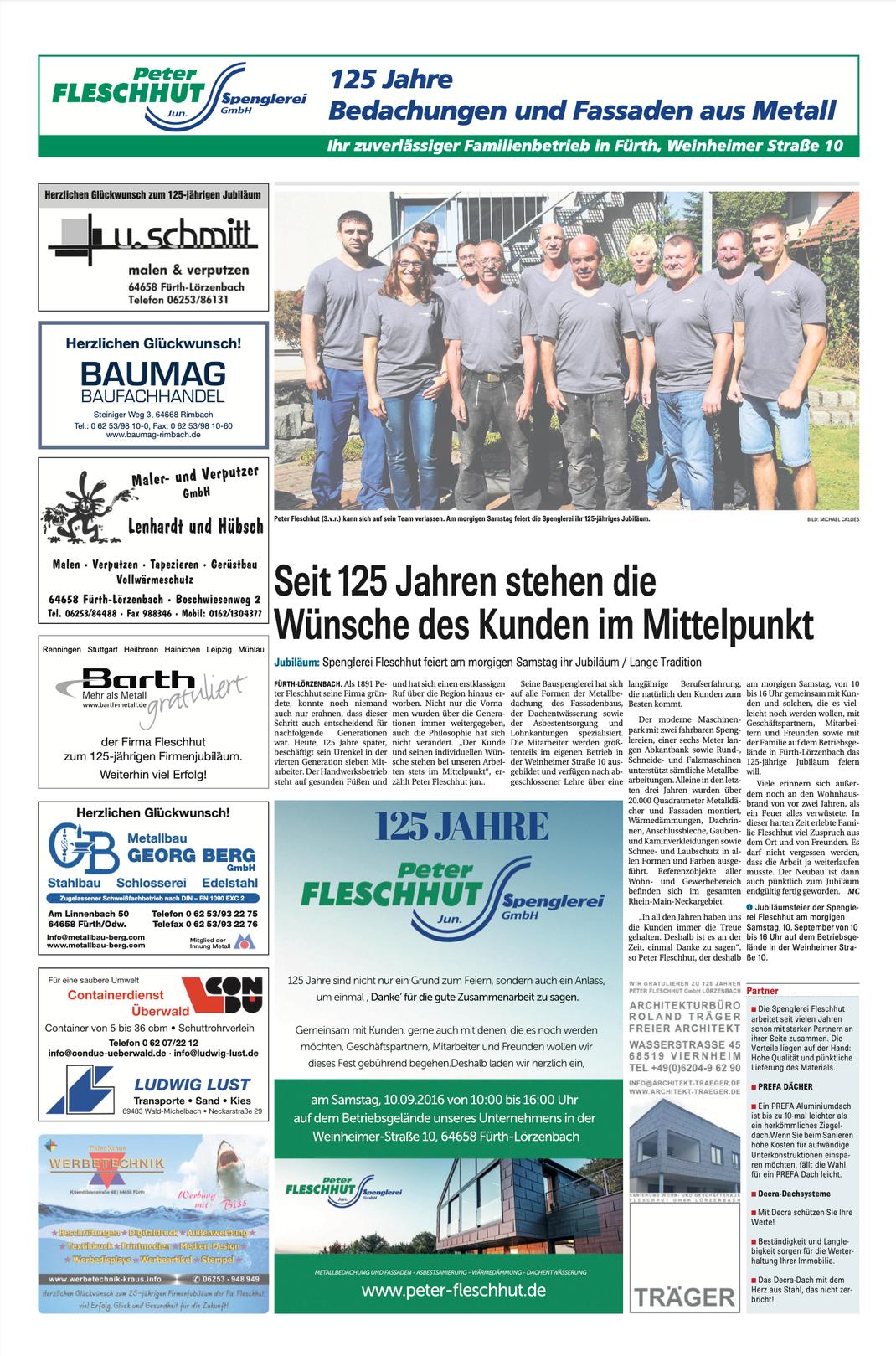 Artikel Tagespresse zum 125jährigen Jubiläum der Peter Fleschhut GmbH