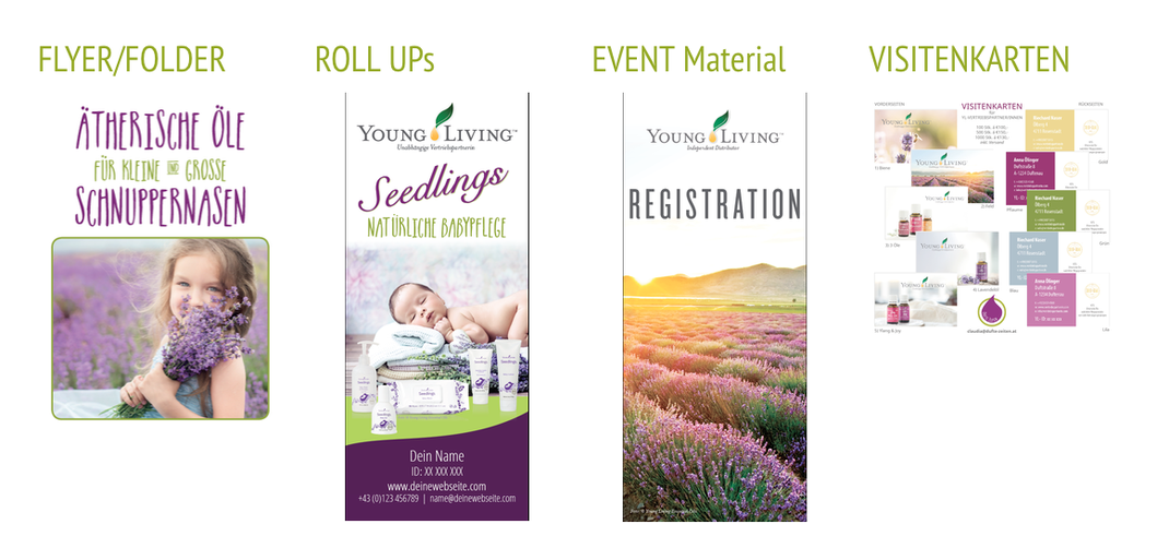 Drucksorten & Werbemittel wie Flyer, Visitenkarten und Roll Ups für YL Vertriebspartner gestaltet von Claudia Greiter