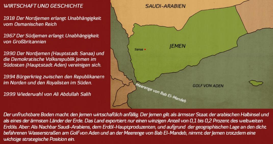 Jemen: Ins Elend gebombt - 05.04.2016 arte: Am 10. April soll im Jemen eine neue Feuerpause in Kraft treten. Ab dem 18. April sollen dann in Kuwait abermalig Friedensverhandlungen zwischen der jemenitischen Regierung und den Huthi-Rebellen starten.