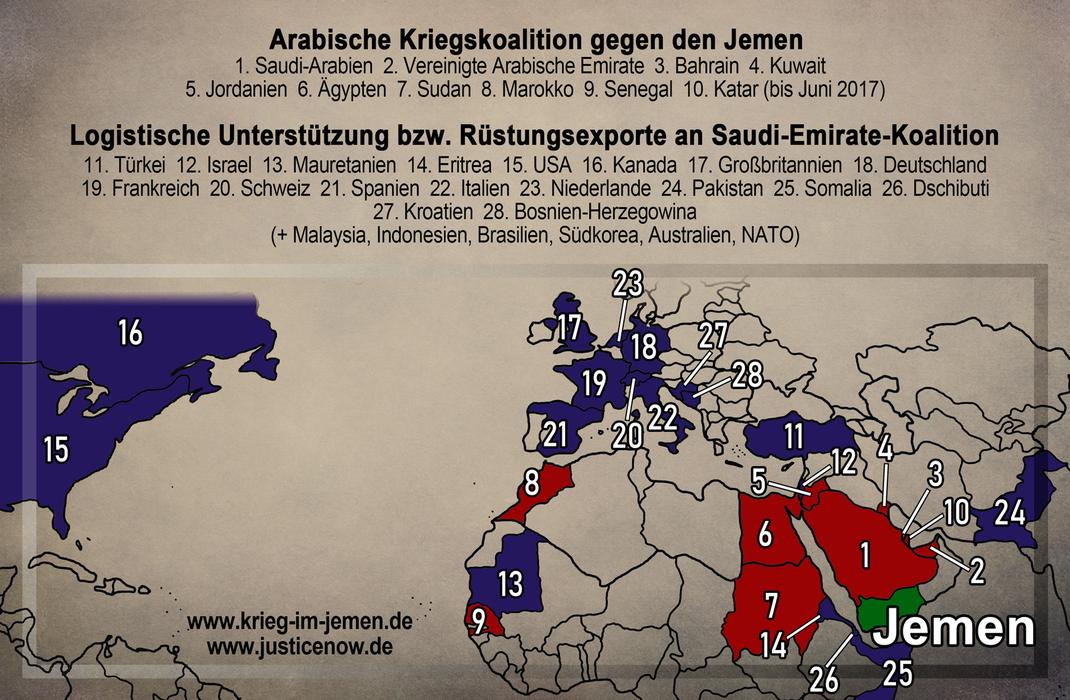 Die Kriegs-Koalition Saudi Arabien:  1 Saudi Arabien * 2 VAE * 3 Katar * 4 Pakistan * 5 Bahrain * 6 Kuwait * 7 Türkei * 8 Jordanien * 9 Ägypten * 10 Sudan * 11 Marokko * 12 Senegal * 13 USA * 14 GB * 15 Frankreich * 16 Deutschland