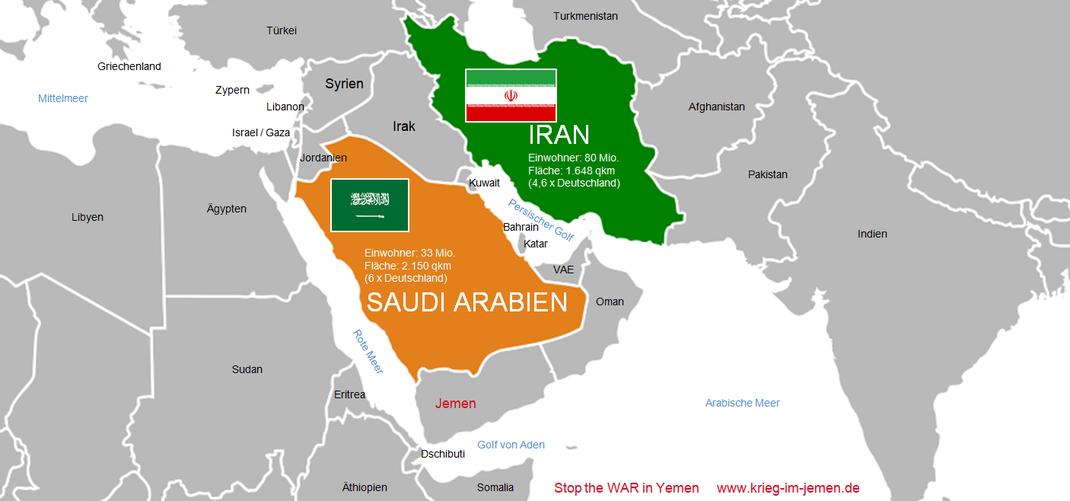 """Iran vs. Saudi Arabien - Die Doppelmoral westlicher """"Wertegesellschaft"""" und Berliner Außenpolitik - Ein Projekt der Friedensinitiative Stop the WAR in Yemen"""