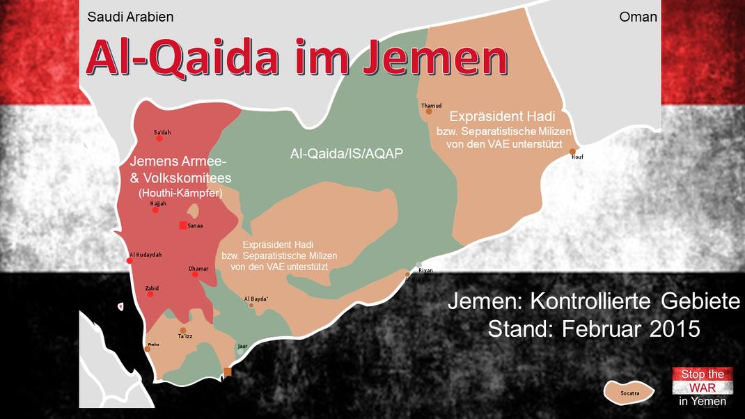 Februar 2015 - Jemen, Kontrollierte Gebiete - Grün: AQAP/QAP - Al-Qaeda in the Arabian Peninsula (Al-Qaida auf der arabischen Halbinsel)