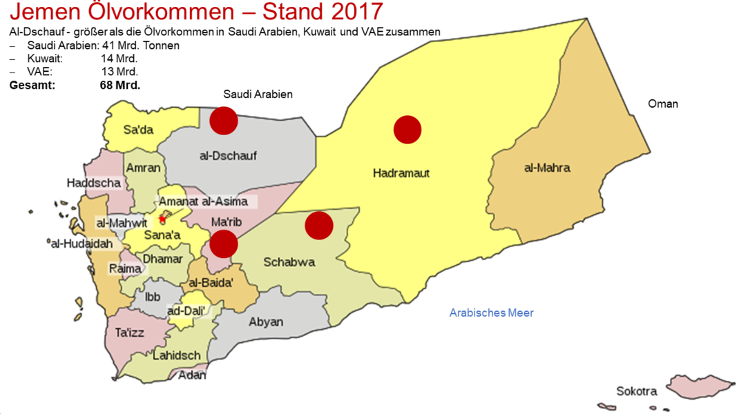 Jemen Ölvorkommen – Stand 2017