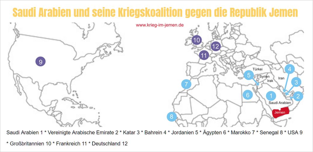 Bild: Staaten der Kriegskoalition gegen Jemen unter Führung von Saudi Arabien (1): 2 Vereinigte Arabische Emirate, 3 Katar, 4 Bahrein, 5 Jordanien, 6 Ägypten,7 Marokko, 8 Senegal, 9 USA, 10 Großbritannien, 11Frankreich, 12 Deutschland
