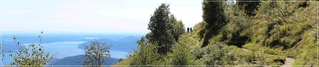 Höhenweg vom Pian Cavallone mit Blick auf den Lago Maggiore