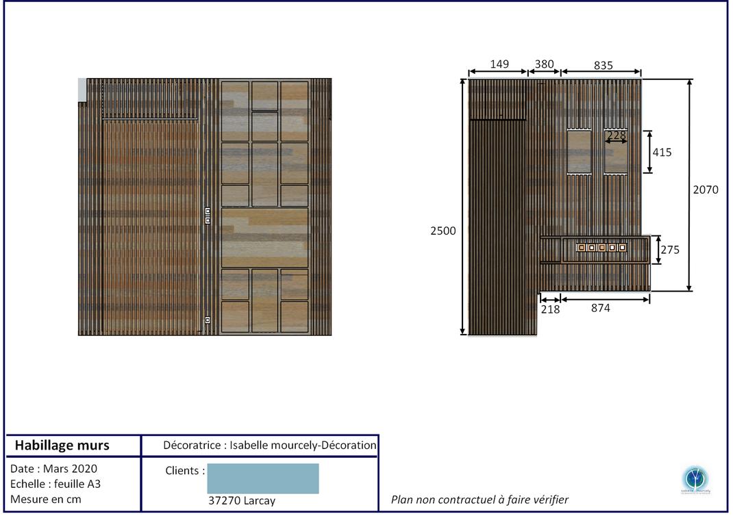 Coupe aménagement Larcay 37000; Isabelle Mourcely-Décoration; décoratrice d'intérieur UFDI Chinon-Tours Centre Val de Loire 37