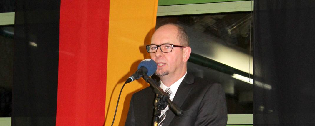 Das Bild zeigt Bürgermeister Markus Günter be seinm Ausblick auf das laufende Jahr. Fotograf: Rainer Weiß