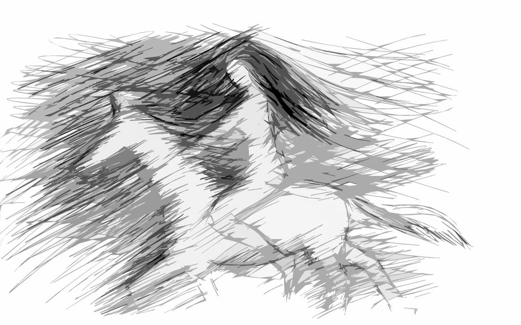 Amazone. Pferd, Aktskizze