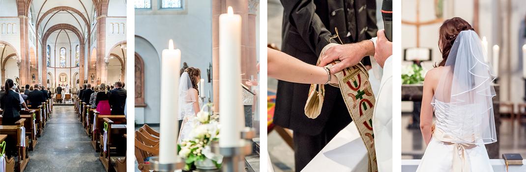 Hochzeitsfotos von Lynn Marie Zapp, Hochzeitsreportage, Trauung St. Andreas Kirche in Schlebusch