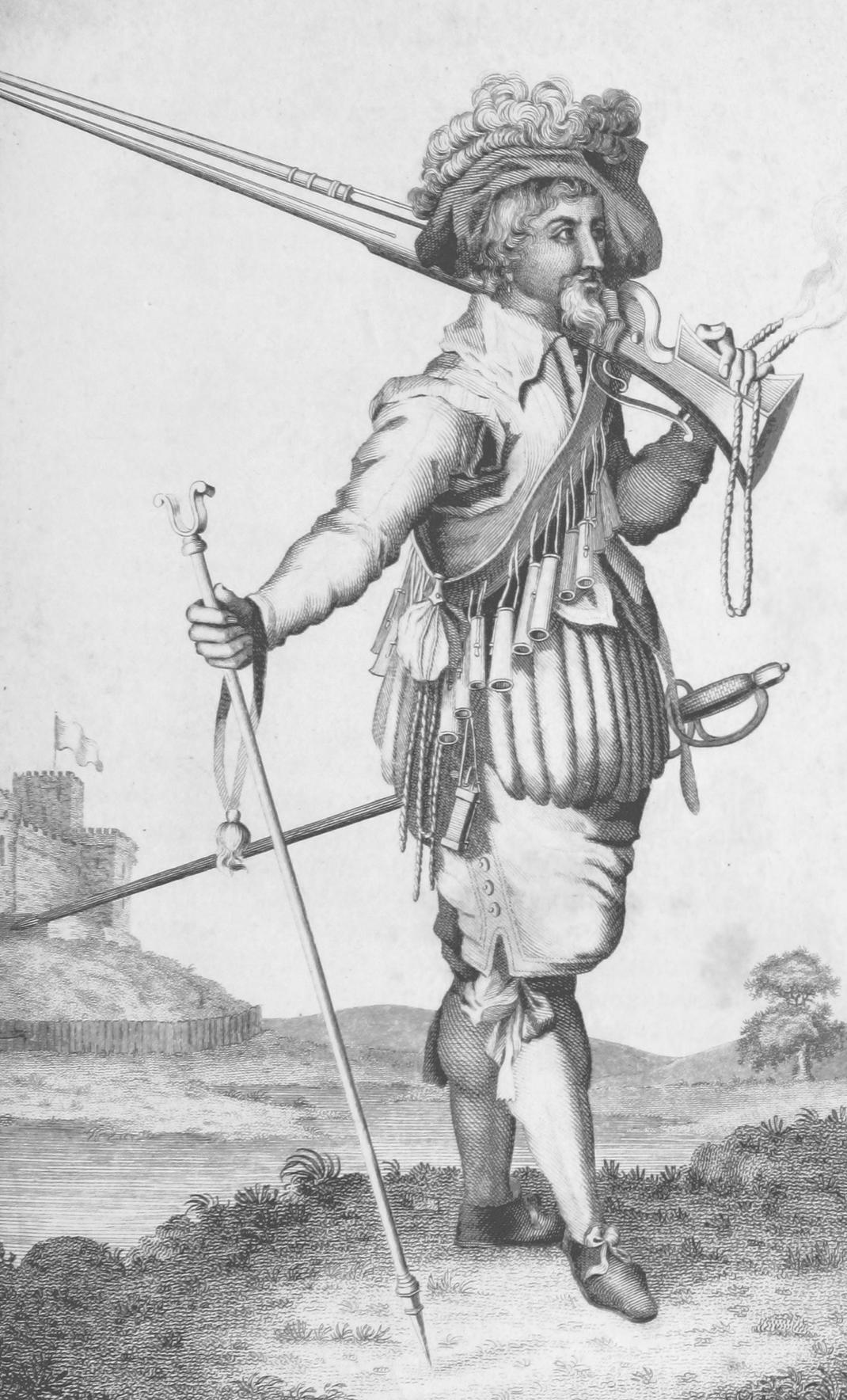 Landsknecht mit Musketen und Musketenstab
