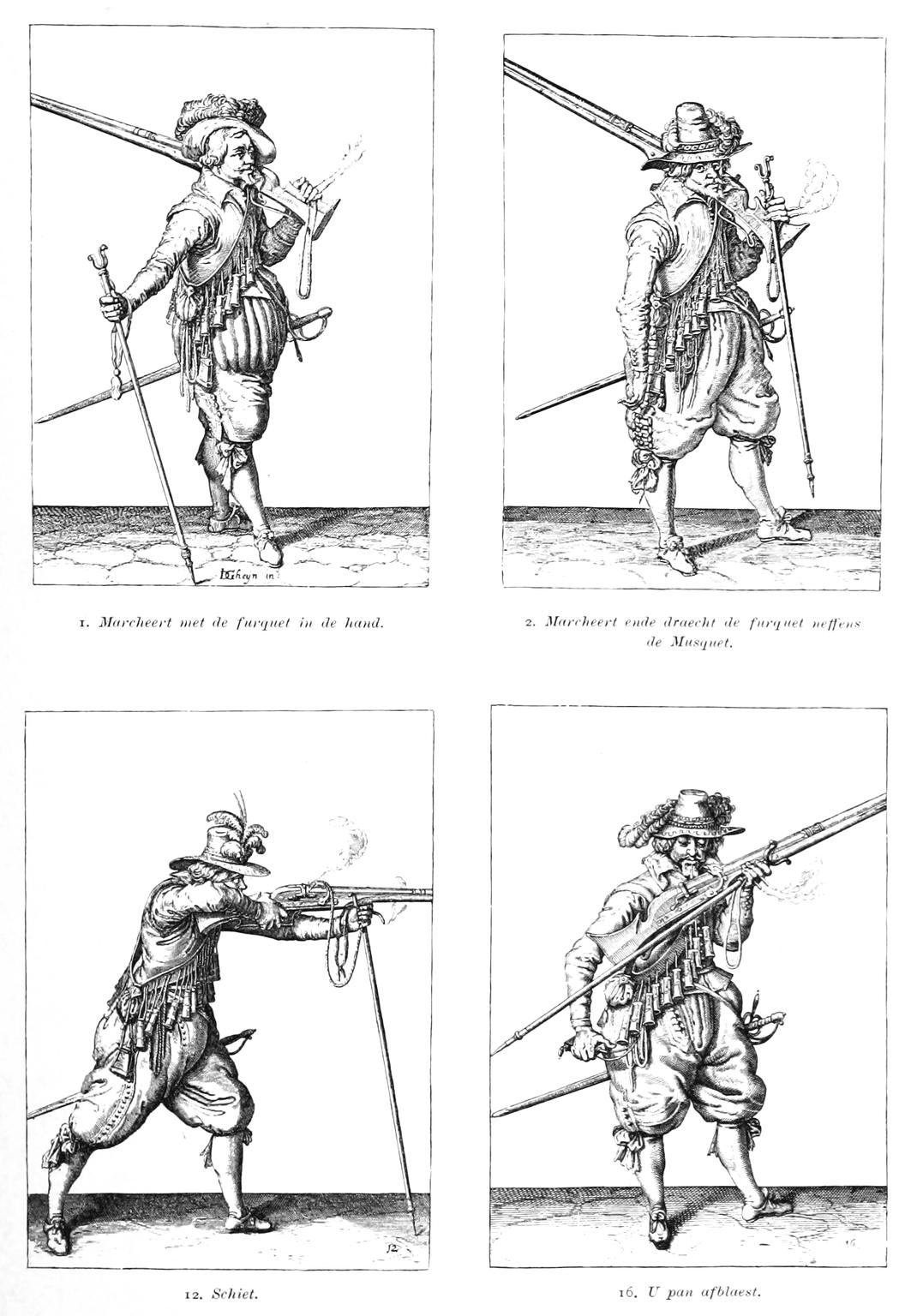 Vier Abbildungen von Musketier-Aufstellungen während des Kampfes