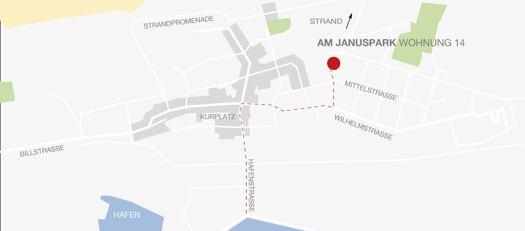 Lage Ferienwohnung 14 am Januspark auf Juist
