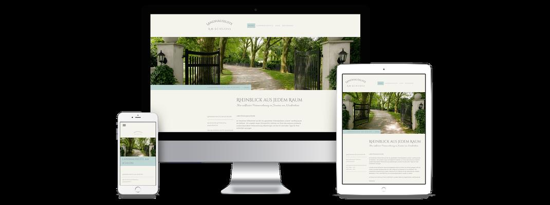 Erstellte Homepage der Landhaussuite am Schloss Xanten auf Desktop-PC, Tablet und Smartphone im Responsive Design