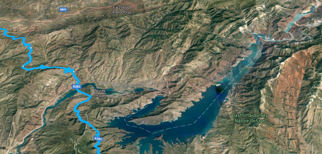 Tajikistan. The Nurek Reservoir view from the ISS