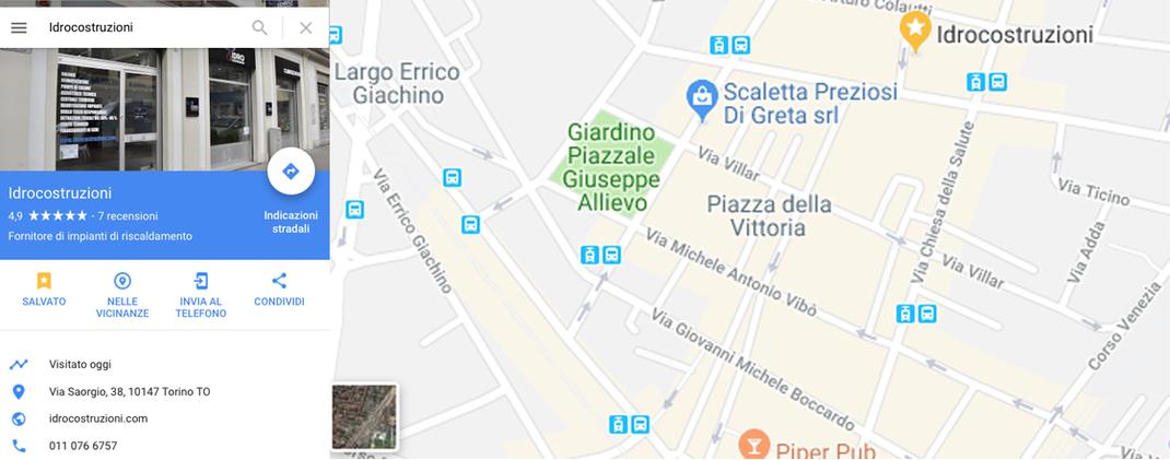 Mappa di Idrocostruzioni a Torino in via Saorgio 38/d dove poter acquistare pompe di calore a tasso zero e usufruire del nuovo conto termico