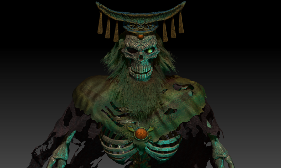 Sculpted with ZBrush