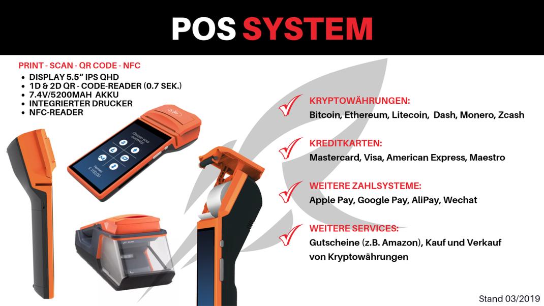 Ein POS System Terminal für Bitcoin, viele andere Kryptowährungen, Kreditkarten und weitere Zahlungsmittel wie Apple Pay, Google Pay etc.