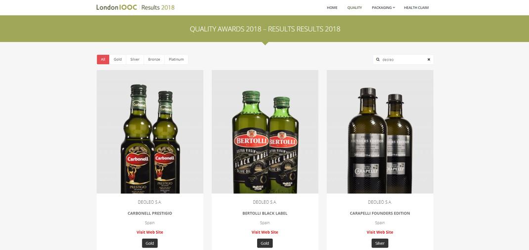 Bertolli gewinnt an der London Olive Oil Competition Gold, Silber und Bronze