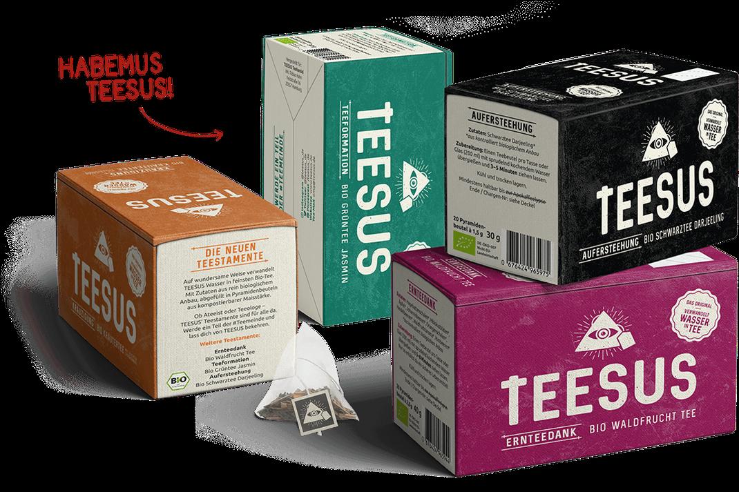 Die vier Tee-Sorten der Teestamente von TEESUS.