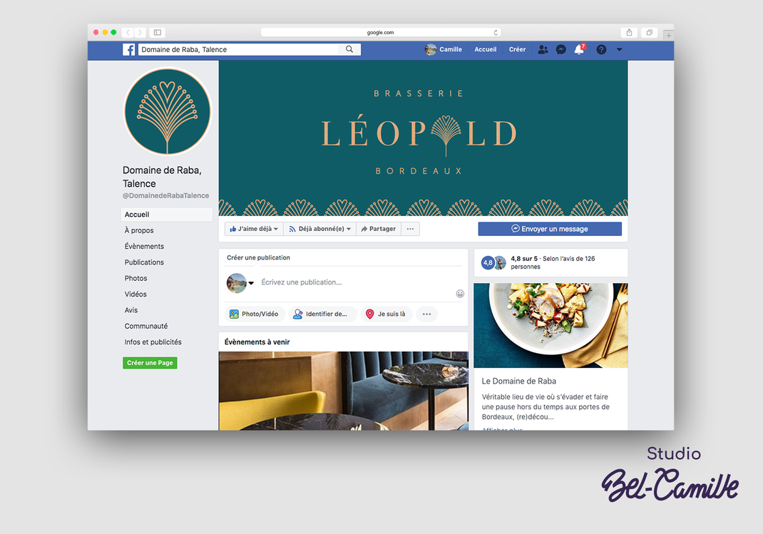 Design de l'entête facebook de la brasserie léopold réalisée par studio bel-camille