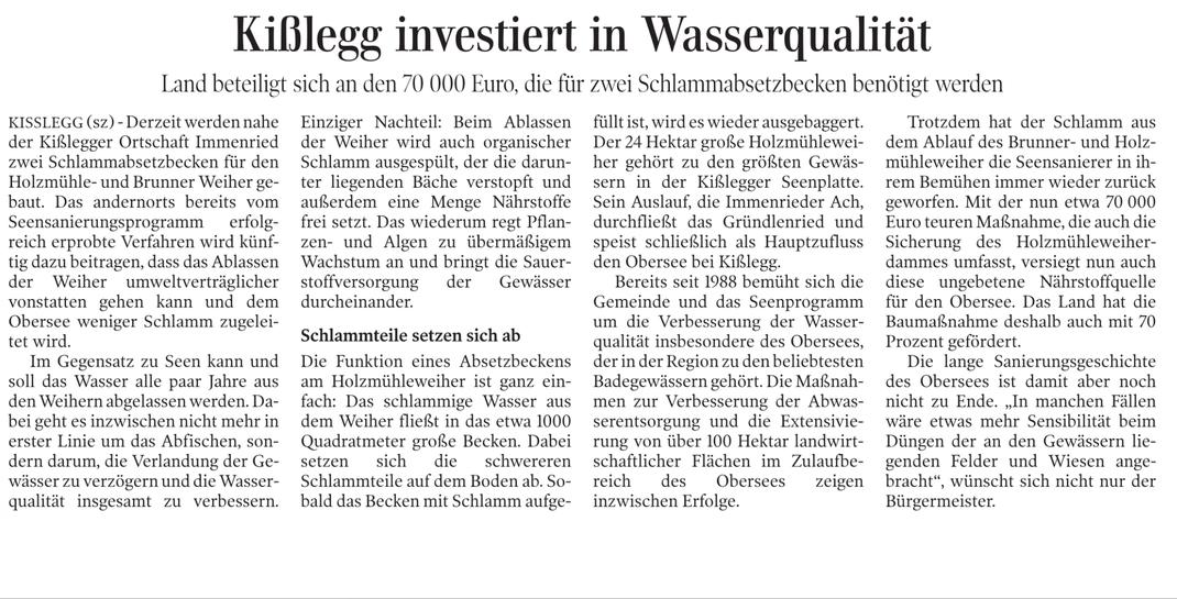 Schwäbische Zeitung vom 29.6.2011