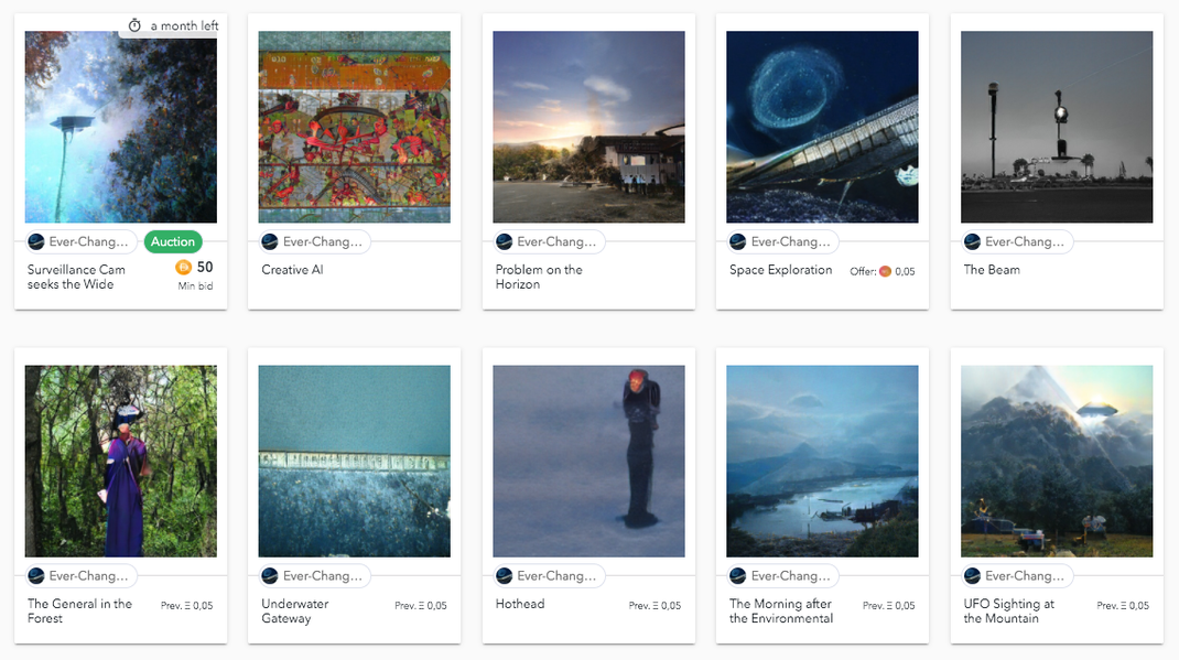 Version 1.0 of the ECCA-Tokens as of 2019-11-21: AI-generated Artworks from the studies folder of artist Hans Benzin.