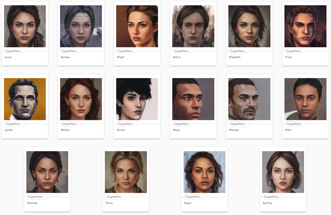 Initial released CryptoPortraits