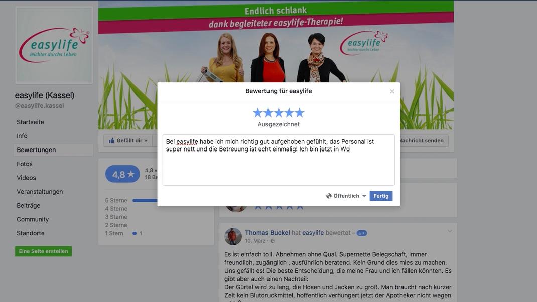 Facebook Bewertung abgeben