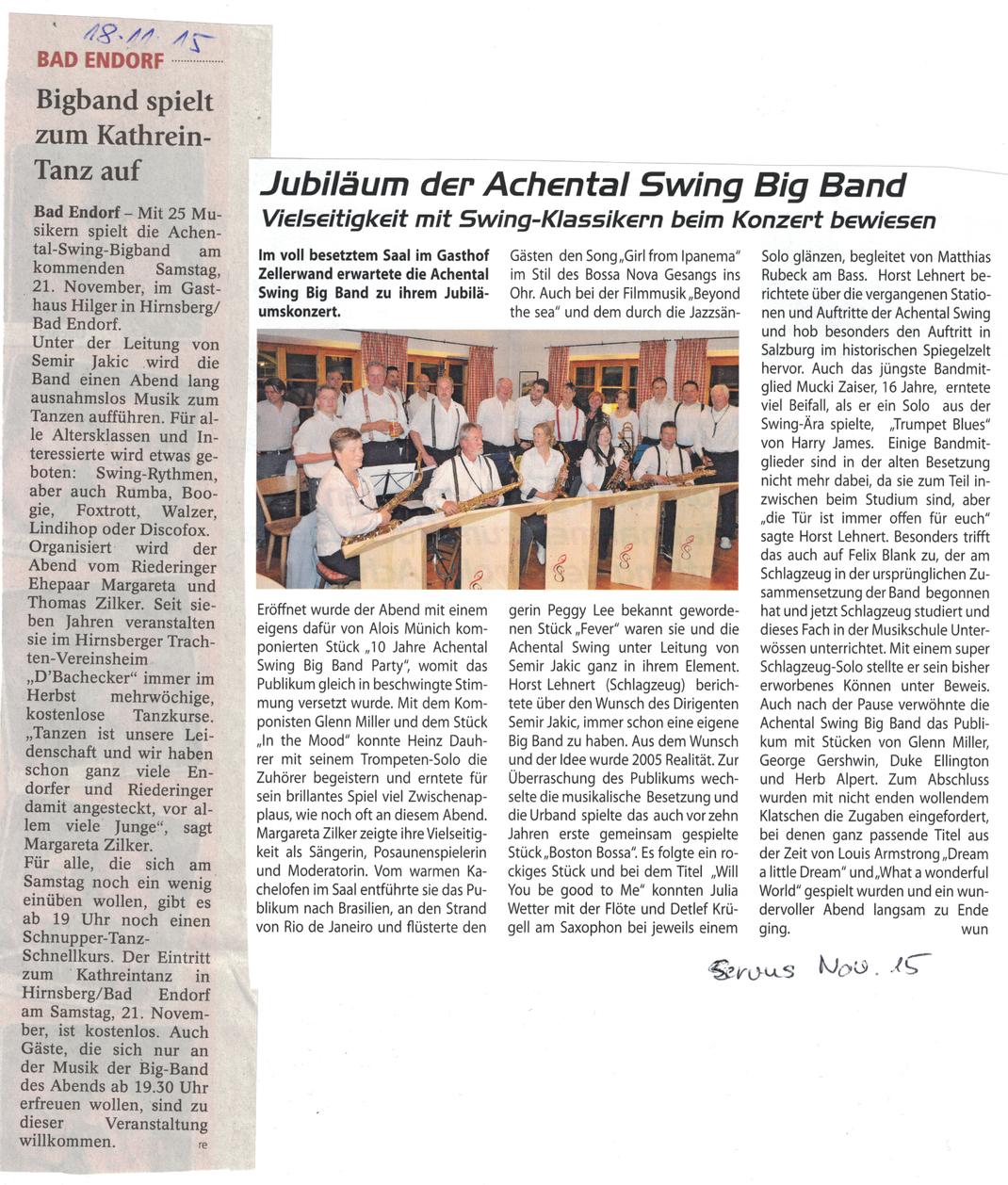 bigband Kathrein Tanz 10 Jahre