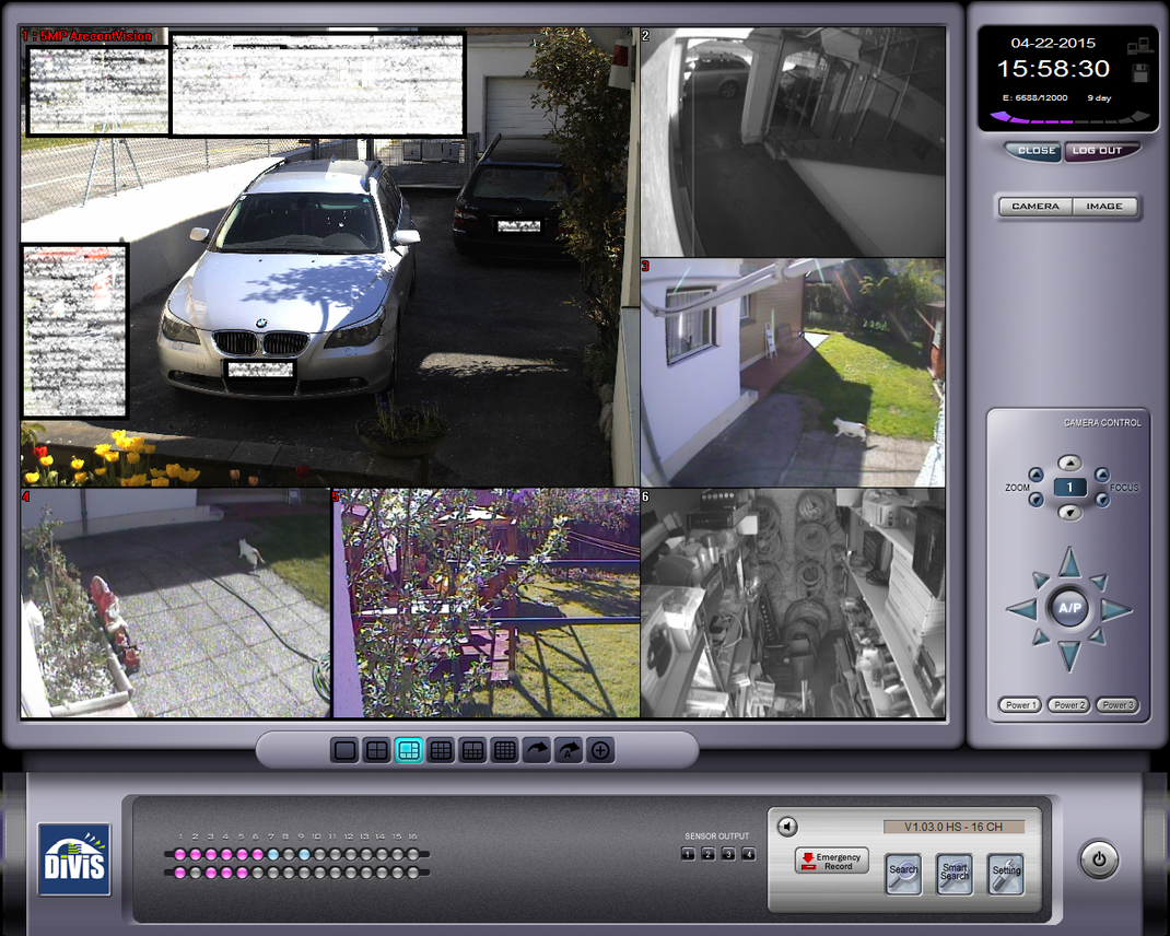 Beispiel einer Divis Hybrid Videoüberwachung mit 5Megapixel Kamera und analoge Kameras