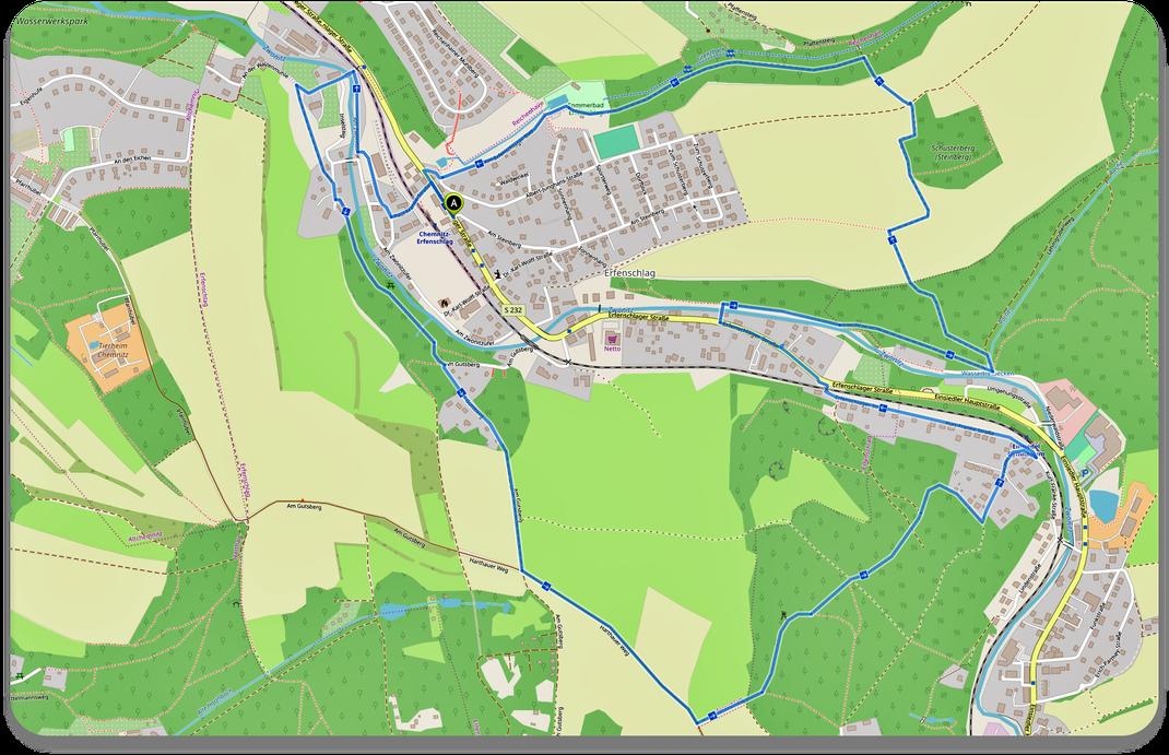 Erfenschlag Rundwanderweg in OpenStreetMap ca. 7,5 Km - Quelle: Bürgerverein