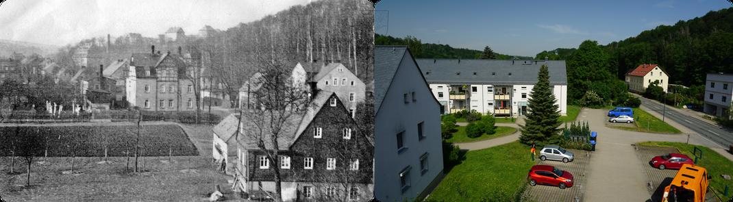 Erfenschlag: Blick Richtung Ortsmitte 1938 und 2019 / Quelle: Hr. Legler+Verein