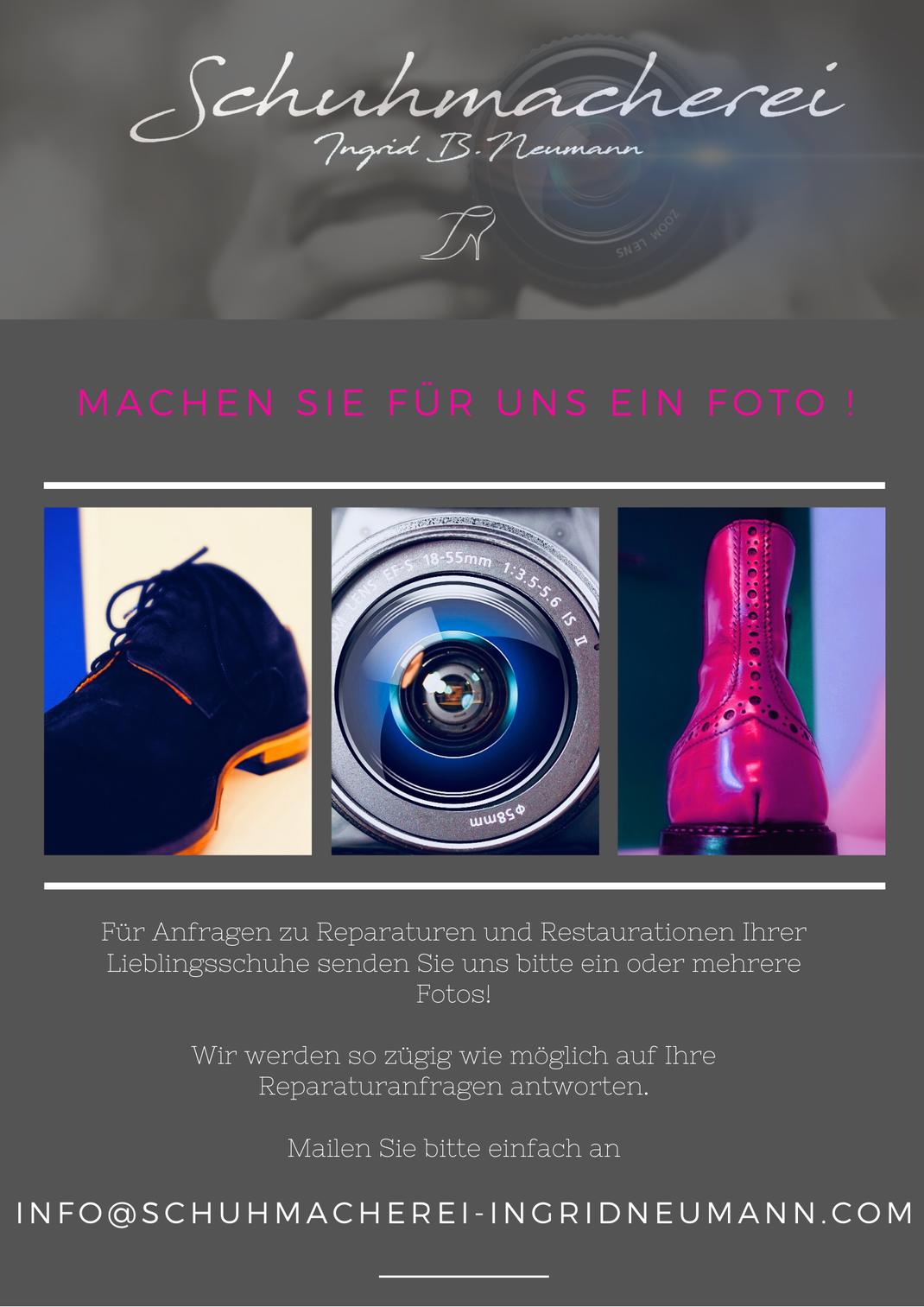 E-Mail Anfragen zu Schuhreparaturen und Restaurationen Flyer 2020