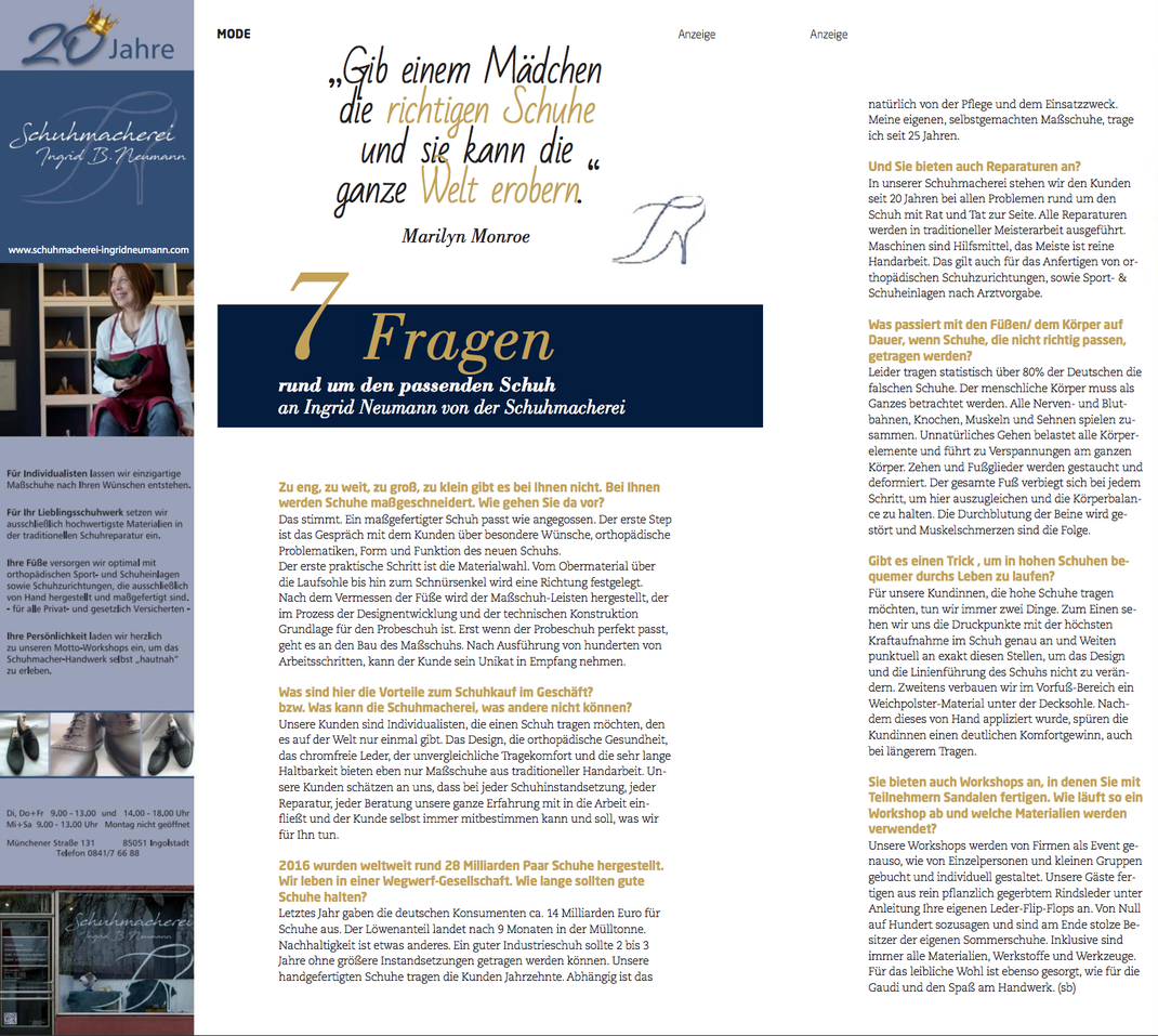 Interview der Schuhmacherei-Inhaberein Ingrid B. Neumann