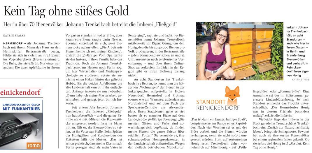 Kein Tag ohne süßes Gold, ein Artikel aus der Berliner Morgenpost von Katrin Starke