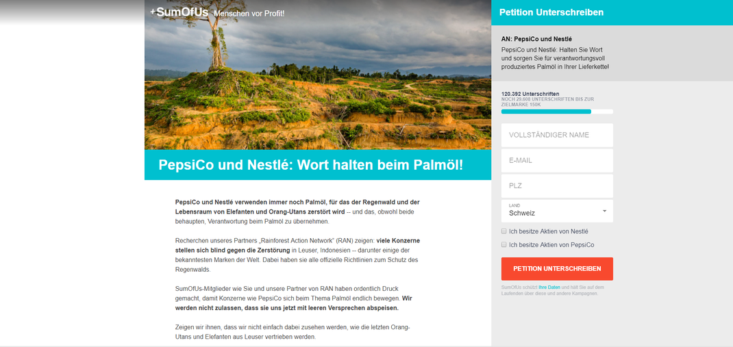 (Bild: Screenshot SumOfUs - Menschen vor Profit!)