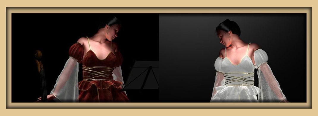 Zwei junge Damen in rotem und weißem Kleid mit Cello. Mode in der Galerie Frutti dell'Arte auf der Kunstroute 2015 am 27., 28. und 29. September 2019.