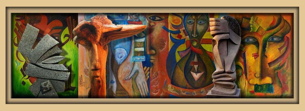 Ibrahim Alawad mit Malerei, Skulptur und Kaligraphie auf der Aachener Kunstroute 2017 in der Galerie Frutti dell'Arte. Ibrahim Alawad studied at the Damascus fine art academy